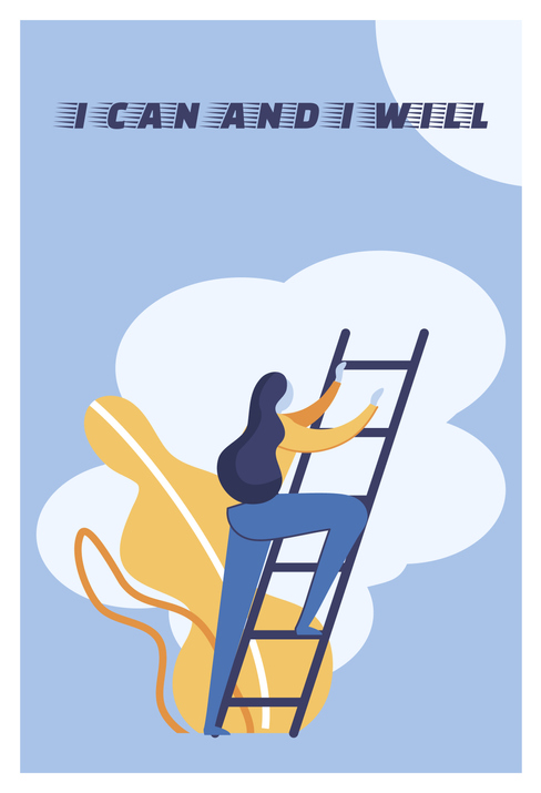 a woman doing the best she can do to climb a ladder