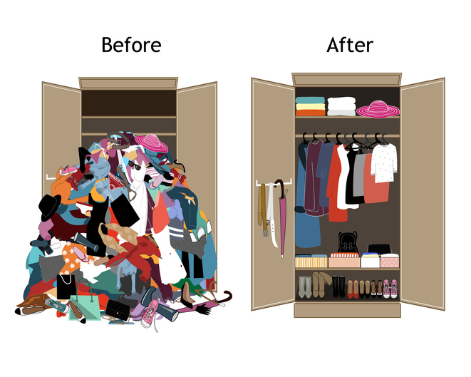 Look at the benefits of organizing a closet - before and after